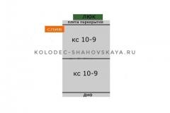 Септик из 2 колец с бетонной крышкой с пластиковым люком и со дном <br> Цена - 13 900 руб.